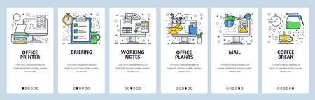 Vector web site linear art onboarding screens template. Office and business. Menu banners for website and mobile app development. Modern design flat illustration