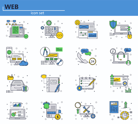 Vector set of web development and office icons in thin line style. Website UI and mobile web app icon. Outline design illustration 向量圖像