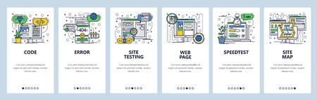 Modèle d'écrans d'intégration d'art linéaire de site Web vectoriel. Développement Web, codage et test, plan du site, test de vitesse. Bannières de menu pour le développement de sites Web et d'applications mobiles. Concevoir une illustration plate Vecteurs