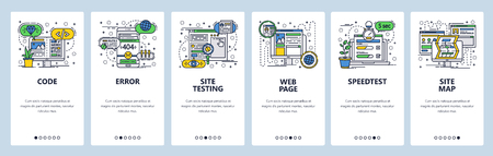Vector web site linear art onboarding screens template. Web development, coding and testing, sitemap, speed test. Menu banners for website and mobile app development. Design flat illustration