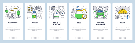 Vector web site linear art onboarding screens template. Fall season, flu, warm clothes, rain. Menu banners for website and mobile app development. Modern design flat illustration
