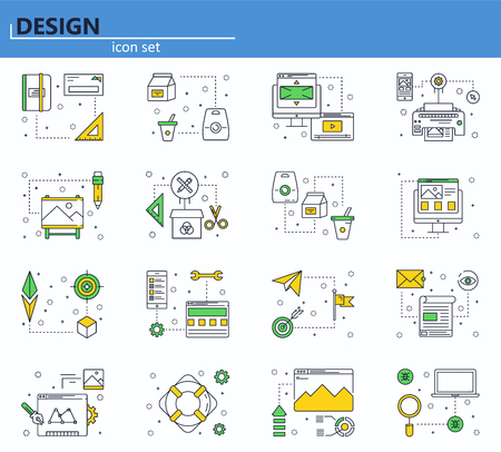 Vector set of computer, business, office and design icons in thin line style. Website UI and mobile web app icon. Outline design illustration