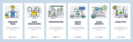 Vector web site linear art onboarding screens template. Business analytics and financial report presentation with charts. Menu banners for website and mobile app development. Modern design flat illustration