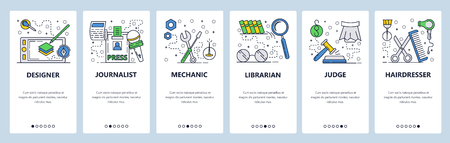 Vector web site linear art onboarding screens template. Different job and professions. Designer, mechanic, judge, journalist. Menu banners for website and mobile app development. Modern design flat illustration
