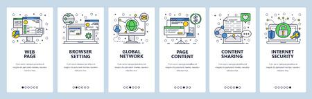 Web site onboarding screens. Internet browser, global network and content sharing. Menu vector banner template for website and mobile app development. Modern design linear art flat illustration