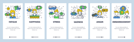 Web site onboarding screens. Human feelings and emotions. Menu vector banner template for website and mobile app development. Modern design linear art flat illustration