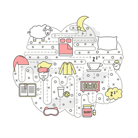 Sleep vector poster banner template. Sleeping bed, mask, clothes, pillow, pills, book, tea, milk, alarm clock, sheep in shape of speech bubble. Sleeping and insomnia thin line art flat icons for web.