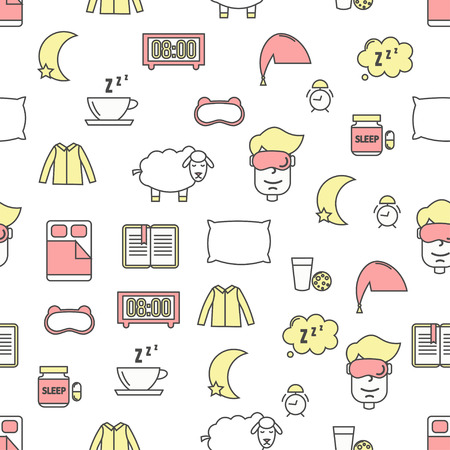 Vector seamless pattern with sleeping bed, mask clothes pillow, pills, book, tea, milk, biscuits, alarm clock, sheep, speech bubble etc. Thin line art flat sleeping and insomnia background, wallpaper. Ilustração