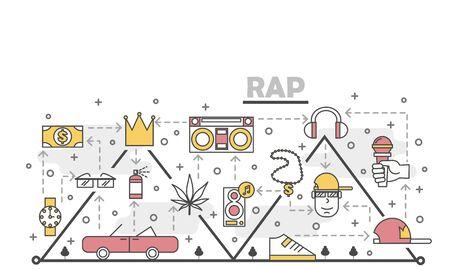 Vector thin line art rap music poster banner template