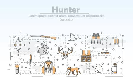 Vector thin line art hunter poster banner template