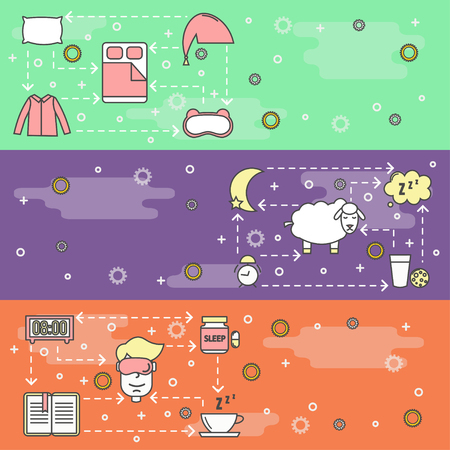 Sleep vector web banner template set. Sleeping bed, mask clothes pillow, pills, book, tea, milk, biscuits, alarm clock, sheep, zzz speech bubble etc. Sleeping and insomnia thin line art flat icons.