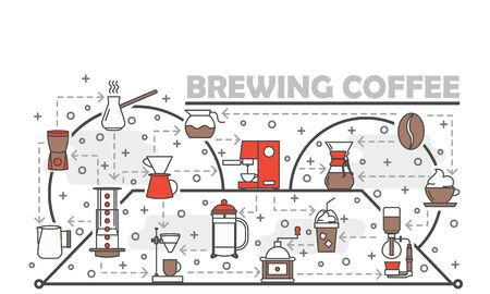 Vector thin line art brewing coffee poster banner template Illustration