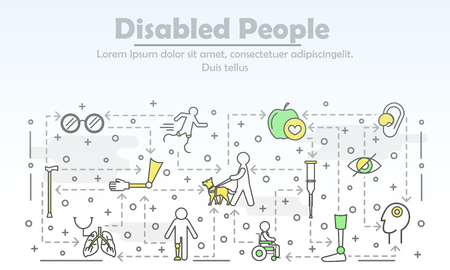 Disabled people advertising vector poster banner template. Blind, man in wheelchair, athlete on artificial legs, hearing aid, arm leg prosthesis etc. thin line flat icons for web, printed materials.