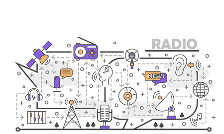 Radio vector poster banner template. Radio station music news broadcasting. Thin line art flat icons for web banners, printed materials. Ilustracja