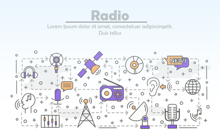 Radio advertising vector poster banner template. Radio station music news broadcasting. Thin line art flat icons for web banners, printed materials.