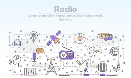 Radio reklama wektor plakat szablon transparent. Nadawanie wiadomości muzycznych przez stację radiową. Cienka linia płaskie ikony do banerów internetowych, materiałów drukowanych.