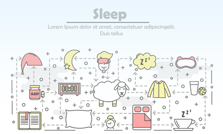 Sleep advertising vector poster banner template. Sleeping bed, mask clothes pillow, pills, book, tea, milk, biscuits, alarm clock, sheep etc. Sleeping and insomnia thin line art flat icons for web.