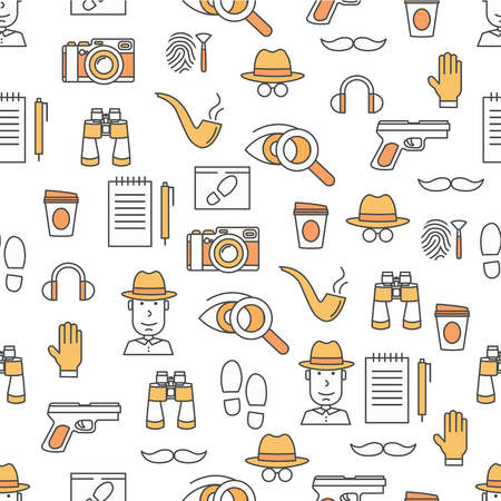 Vector seamless pattern with private investigator, camera, binoculars, gun, tobacco pipe, hat, glove, shoe prints, fingerprints etc. Thin line art flat style design detective background wallpaper.