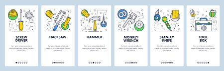 Web site onboarding screens. Hardware repair tools, screw driver, handsaw, hammer, wrench. Menu vector banner template for website and mobile app development. Modern design linear art flat illustration. Illustration