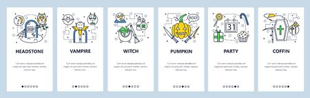 Web site onboarding screens. Halloween party with vampire, pumpkin and witch. Menu vector banner template for website and mobile app development. Modern design linear art flat illustration 일러스트