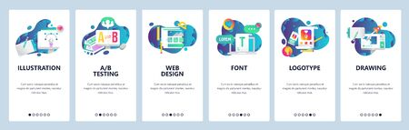 Web site onboarding screens. Graphic design, web design, computer fonts. Menu vector banner template for website and mobile app development. Modern design linear art flat illustration Illustration