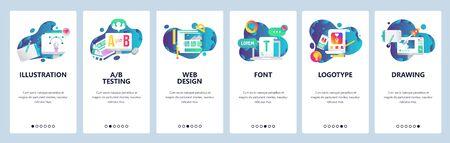 Web site onboarding screens. Graphic design, web design, computer fonts. Menu vector banner template for website and mobile app development. Modern design linear art flat illustration Иллюстрация