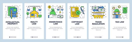 Web site onboarding screens. Law icons, copyright, intellectual property, trade, taxes and financial law. Menu vector banner template for website and mobile app development. Modern design linear art flat illustration