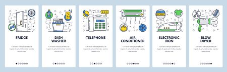 Web site onboarding screens. Home appliances, iron, dish washer, fridge, air con. Menu vector banner template for website and mobile app development. Modern design linear art flat illustration