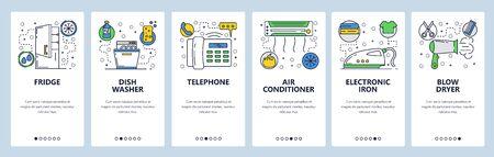 Web site onboarding screens. Home appliances, iron, dish washer, fridge, air con. Menu vector banner template for website and mobile app development. Modern design linear art flat illustration