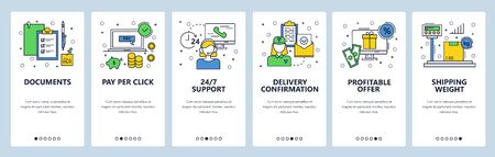 Web site onboarding screens. Online shopping, call center, advertising, shipping. Menu vector banner template for website and mobile app development. Modern design linear art flat illustration