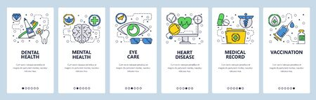 Web site onboarding screens. Medical checkup and body health, vaccination and medical records. Menu vector banner template for website and mobile app development. Modern design linear art flat illustration