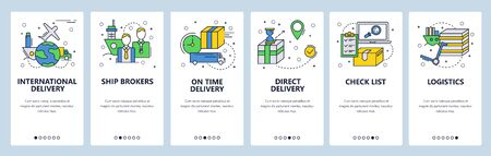 Web site onboarding screens. Worldwide delivery and cargo service. Menu vector banner template for website and mobile app development. Modern design linear art flat illustration