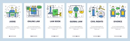 Web site onboarding screens. Court and legal system, civil rights, family law, international law. Menu vector banner template for website and mobile app development. Modern design linear art flat illustration.