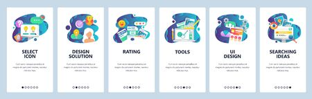 Web site onboarding screens. UI and UX design solutions, rating review, search, drawing tools. Menu vector banner template for website and mobile app development. Modern design linear art flat illustration.