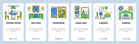 Web site onboarding screens. Home interior and furniture. Menu vector banner template for website and mobile app development. Modern design linear art flat illustration.