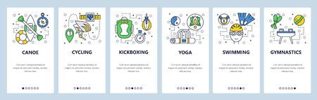 Web site onboarding screens. Sport icons. Cycling, boxing, swimming, yoga, gymnastic. Menu vector banner template for website and mobile app development. Modern design linear art flat illustration. Foto de archivo - 127897146