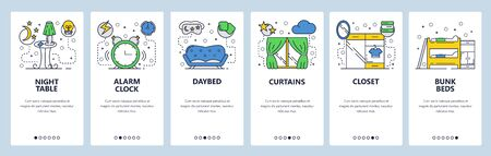 Web site onboarding screens. Room interior, sofa, curtains, bed and closet. Menu vector banner template for website and mobile app development. Modern design linear art flat illustration. Vectores
