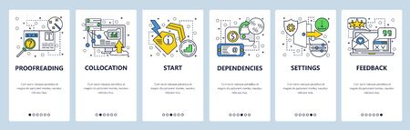 Web site onboarding screens. Proofreading, settings and feedback. Menu vector banner template for website and mobile app development. Modern design linear art flat illustration.