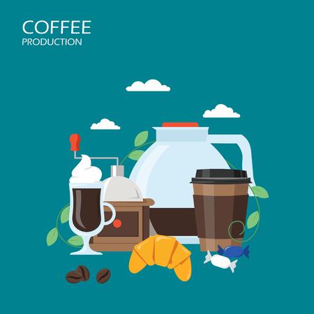 Ilustración de diseño de estilo plano de vector de producción de café Ilustración de vector
