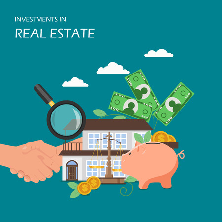 Investments in real estate vector flat illustration. Property house, money tree, handshake, piggy bank, safe and magnifying glass. House investment, financial growth, savings money poster, banner.