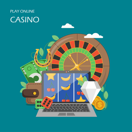 Online casino vector flat style design illustration