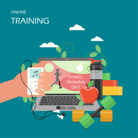 Online training concept vector flat style design illustration. Laptop with video exercise class, dumbbells, hand holding music player with earphones. Virtual gym online fitness services poster banner. Vetores