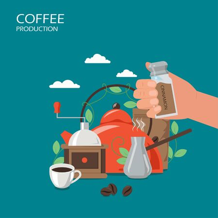 Coffee production vector flat style design illustration