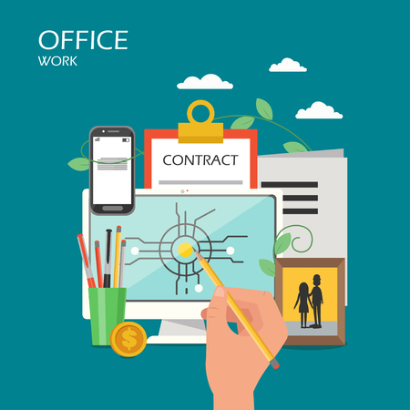 Office work vector flat illustration. Desktop computer, smartphone, clipboard with contract form, stationery, photo in frame and hand drawing with pencil on monitor. Office workspace poster, banner.