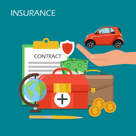 Insurance concept vector flat illustration. Car on human hand palm, briefcase, contract, dollar coins and banknotes, first aid kit and globe. Health, business risk and car insurance poster, banner.