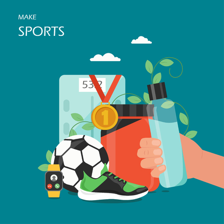 Make sports vector flat illustration. Hand holding water bottle, whey protein, football soccer ball, first place gold medal, shoe, smartwatch or fitness tracker. Sport and healthy lifestyle poster.