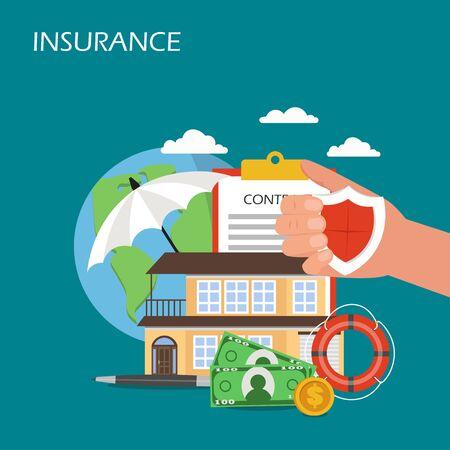 Insurance concept vector flat style design illustration Ilustração