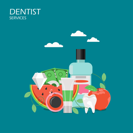 Dentist services concept vector flat illustration. Toothpaste, mouthwash, healthy tooth, apple, slice of watermelon, diamond and paper money. Dental hygiene, oral cleaning poster, banner.
