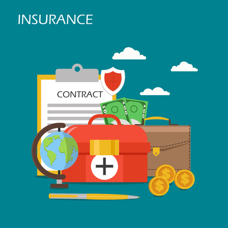 Insurance concept vector flat illustration. Shield, briefcase, contract, dollar coins and banknotes, first aid kit and globe. Insurance services poster, banner.