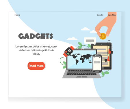Vector modern gadgets website landing page design template